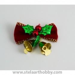 Коледна панделка със звънче за декорация-5см
