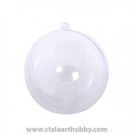 Топка от пластмаса, ф- 80 mm, прозрачна за декорация