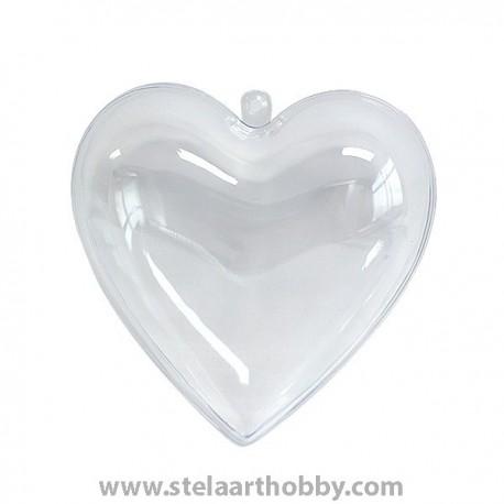 Сърце - пластмаса,  80 mm, прозрачно за декорация
