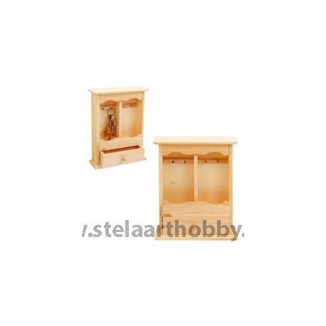 Дървена кутия за  ключове-5 с чекмедже -