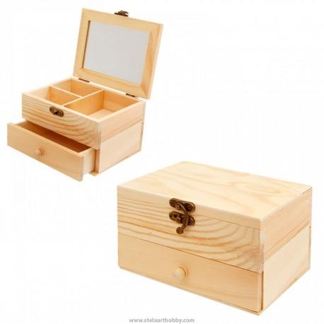 Дървена кутия- биЖутерка 16/12/9,5 см.